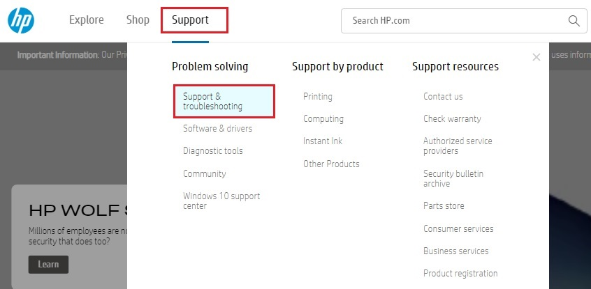 HP Support and Troubleshooting Option