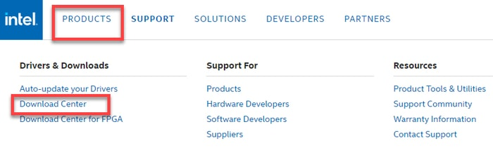 Select Download Center in Products Tab in Intel Official Site