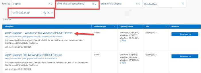 Select the Intel® Iris® Xe Graphics Family Driver