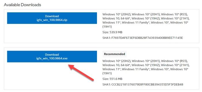 Download Intel Iris Xe Graphics Drivers .exe file