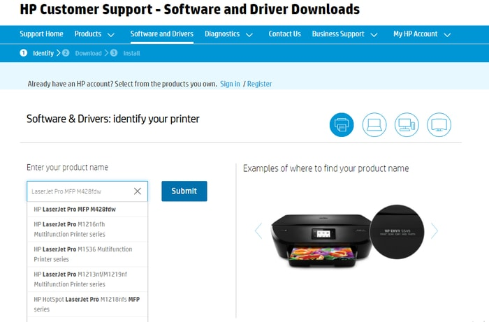 Type HP LaserJet Pro MFP M428fdw product and select
