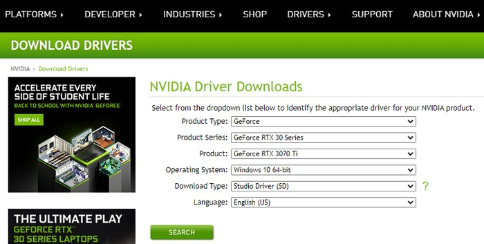 Select product type, series and OS for NVIDIA Driver