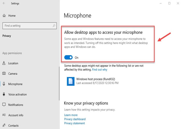 Allow Desktop Apps to Access your Microphone switch it on