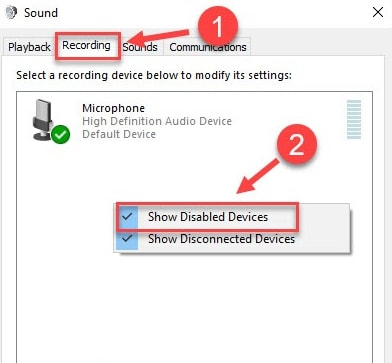 Select Show Disabled Devices in Recording Tab