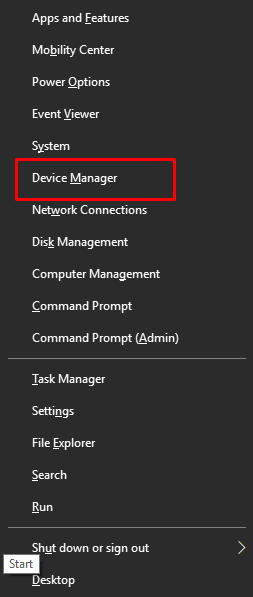 Right click on Start button and Select Device Manager
