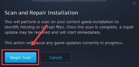 Select Begin Scan Option