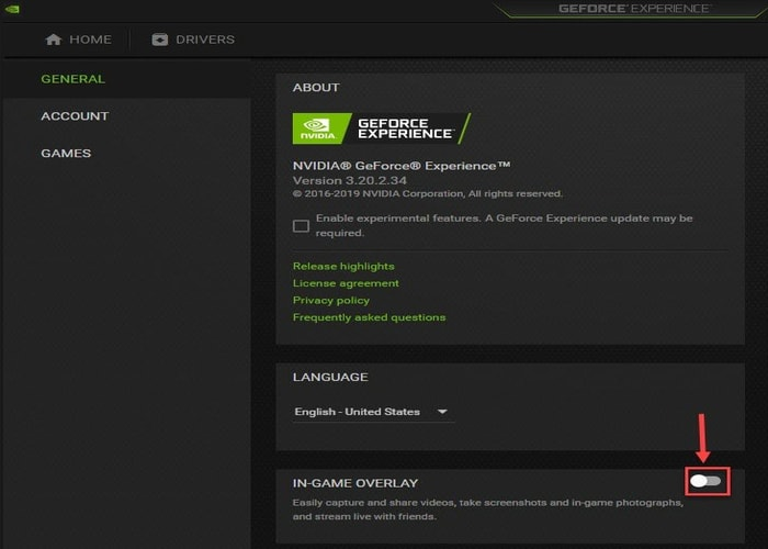 Turn off In-Game Overlay from Geforce Experience