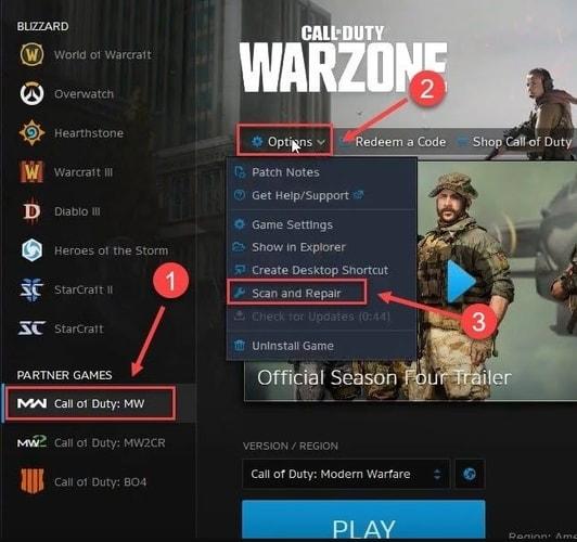 SelectScan and Repairin Call of Duty: MW