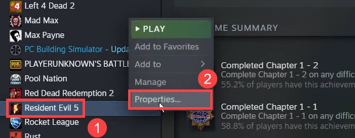 Right Click on Resident Evil 5 and Choose Properties in Steam Library