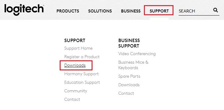 Select Downloads option in Support Tab from Logitech Official Site