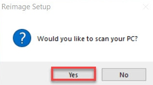 Click on yes for scan the PC by Reimage Setup