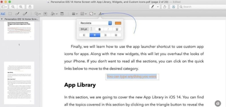 Click on the Text Formatting in Preview Tool