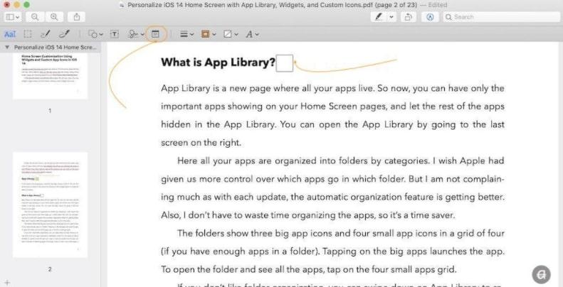 Adding Notes to PDF via Preview Tool on Mac