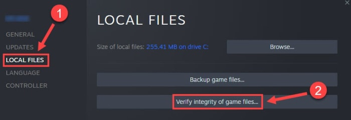 Verify Integrity of Game Files in Local Files Menu List