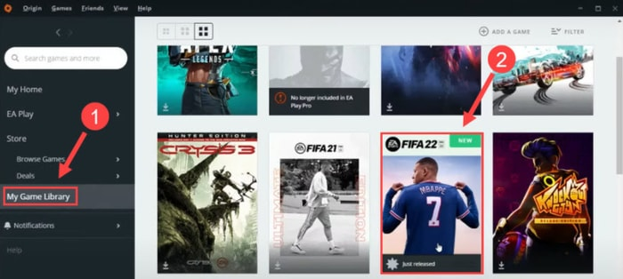 Click My Game Library and Choose FIFA 22 in Origin on Origin Software