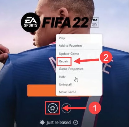 Click on Repair in FIFA 22 Setting