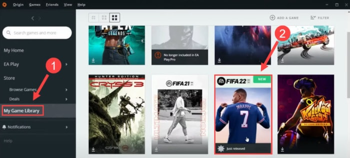 choose My Game Library and Select FIFA 22 Tile