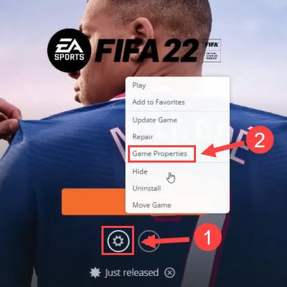Choose Game Properties in FIFA 22 Setting