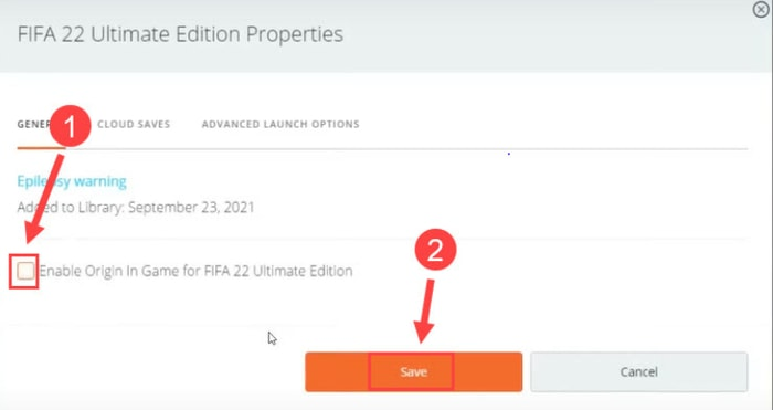 Enable Origin In Game for FIFA 22 Ultimate Edition then OK