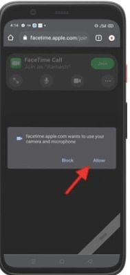 Allow the Access your camera and microphone in Your Device for FaceTime