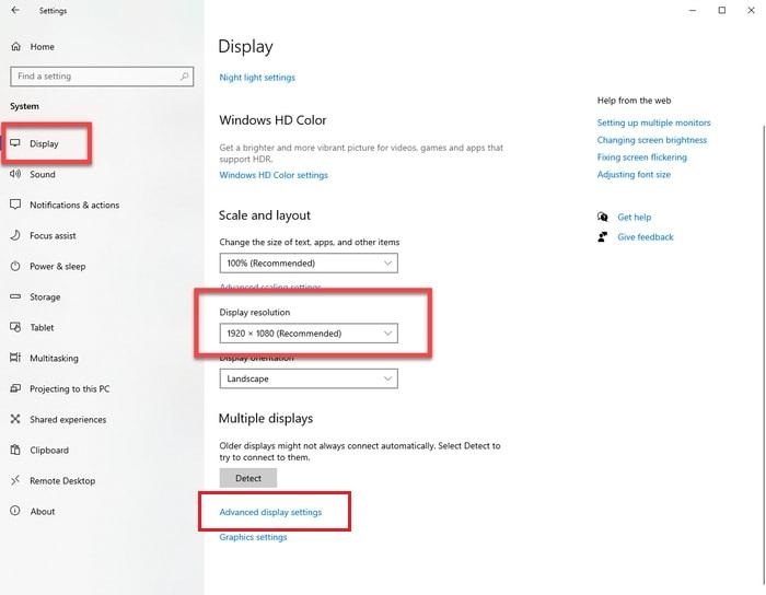 Advance Display setting in Display Tab