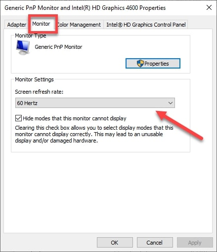 Navigate to the Monitor Settings