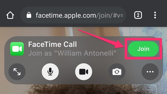 Join button for Facetime call