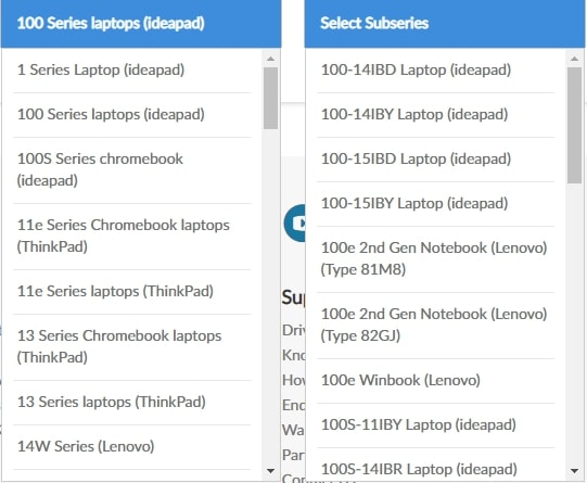 select subseries from the drop-down menu list of lenovo product