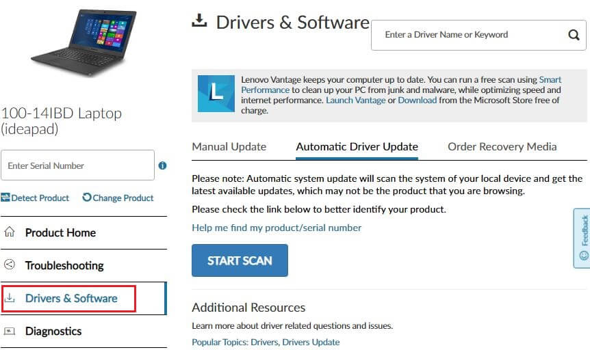 start scan for download driver by detact lenovo device